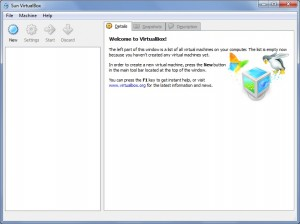 Virtual Box Main Window